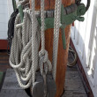 Sailboat wooden marine rigs and ropes. — Stock Photo #6225015