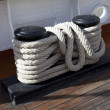Stock Photo: Sailboat wooden marine rigs and ropes.