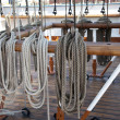 Sailboat wooden marine rigs and ropes. — Stock Photo