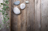 Leaves and stones over wooden background. — Stock Photo