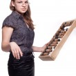 Girl with big wooden abacus — Stock Photo