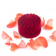Closed box and lying next to rose petals - Stock Photo