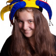 Girl in clown hat — Stock Photo