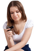 Girl with a cigarette lighter in the hands — Stock Photo