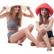 Two girls in summer hats — Stock Photo