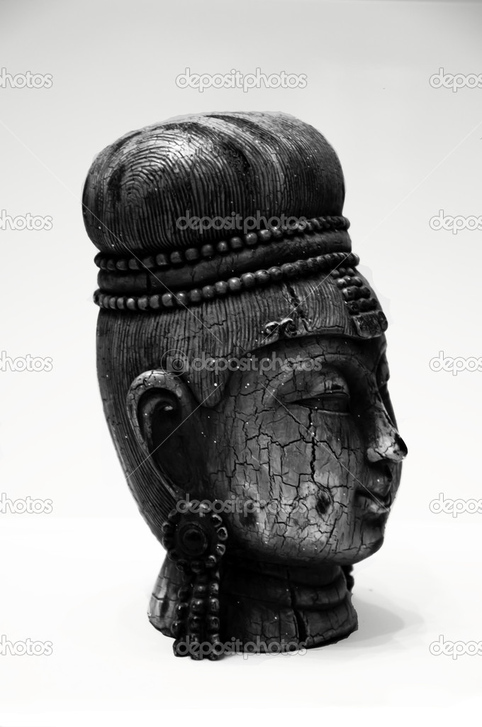 Oriental indian statue in black and white  Stock Photo #5381183