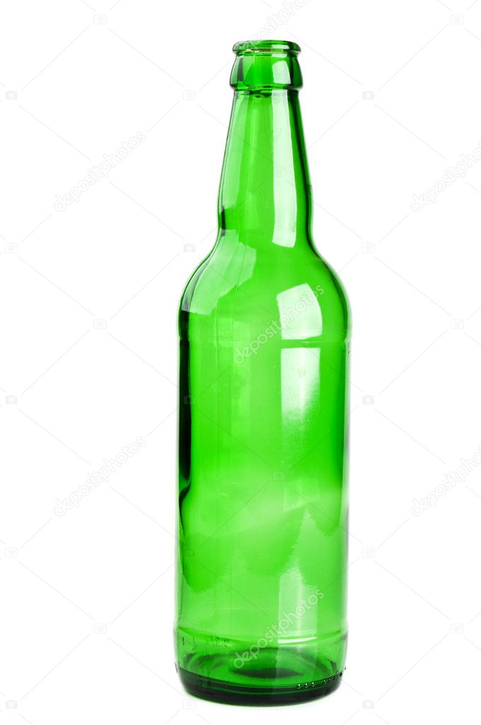 Green and glass bottle isolated on a white background — Stock Photo #5597788