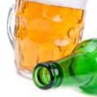 Royalty-Free Stock Photo: Green bottle and beer