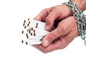 Man hands with cigarette — Stock Photo