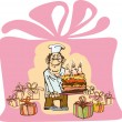 Benevolent baker makes a cake with three candles - Stock Vector