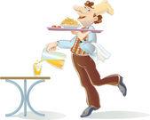 Orange juice from the waiter — Stock Vector
