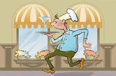 Restaurant waiter brings order — Stock Vector