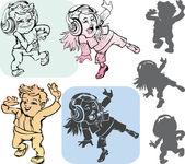 Dancing kids — Stock Vector