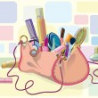 Handbag full of makeup - Stock Vector