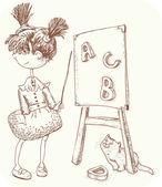 Lilla lärare — Stockvektor