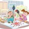 Royalty-Free Stock Vector Image: Children in the room playing with paint