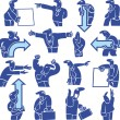 Silhouettes of office workers. pointers — Imagen vectorial