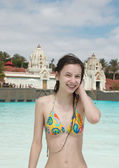 Smiling girl in water park — Stock Photo