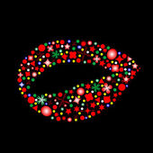 Female lips shape made up a lot of multicolored small figures isolated on t — Stockvector
