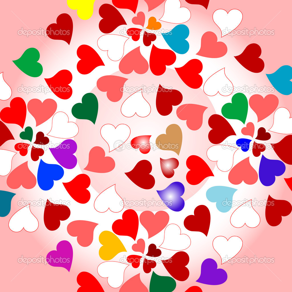 Background with many romantic colorful valentines hearts — Grafika wektorowa #5381497