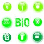 Eco icon set green button — Stock Vector