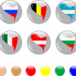 National heart flags icon shiny button - Imagens vectoriais em stock