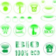 Stock Vector: Eco icon set green button