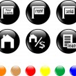 Stock Vector: Set of icon house sale home black button
