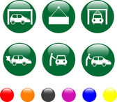 Car service green icon shiny button — Stock Vector