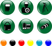 Photo icon set objects green button — Stock Vector