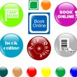 Stock Vector: Button book online colored icon