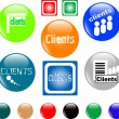 Stock Vector: Button clients colored icon