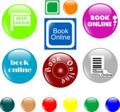 Button book online colored icon — Stock Vector