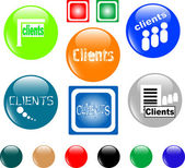 Button clients colored icon — Stock Vector