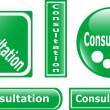 Green Button Consultation set - Imagens vectoriais em stock