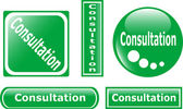 Groene knop overleg reeks — Stockvector