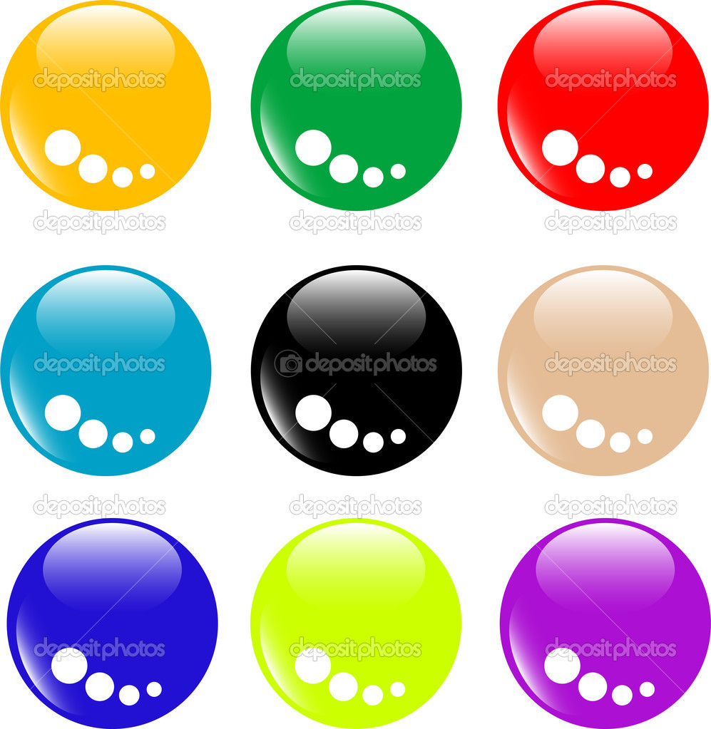 Collection of round glossy internet web buttons  Stock Vector #5575682
