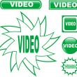 knop video glanzend web pictogrammen instellen — Stockvector