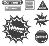Comment button web glossy icon — Stock Vector