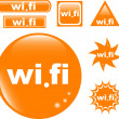 Wi Fi button set glossy icon — Stock Vector