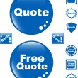 Free quote glossy button blue icon - Stock Vector