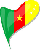 Cameroon in heart. Icon of cameroon national flag. vector — Stock Vector