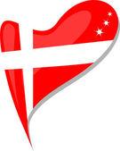 丹麦在心。丹麦国旗的图标。矢量 — 图库矢量图片