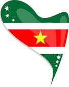 Suriname flag button heart shape. vector — Stock Vector