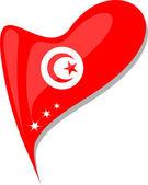 Tunisia in heart. Icon of tunisia national flag. vector — Stock Vector