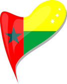 Guinea bissau in heart. Icon of guinea bissau national flag — Vector de stock