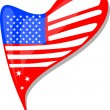 Royalty-Free Stock Vector Image: Usa flag button heart shape. vector
