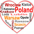 Stock Vector: Poland Heart and words cloud with larger cities