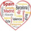 Spain Heart and words cloud with larger cities — Stock Vector