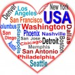USA Heart and words cloud with larger cities - Stock Vector